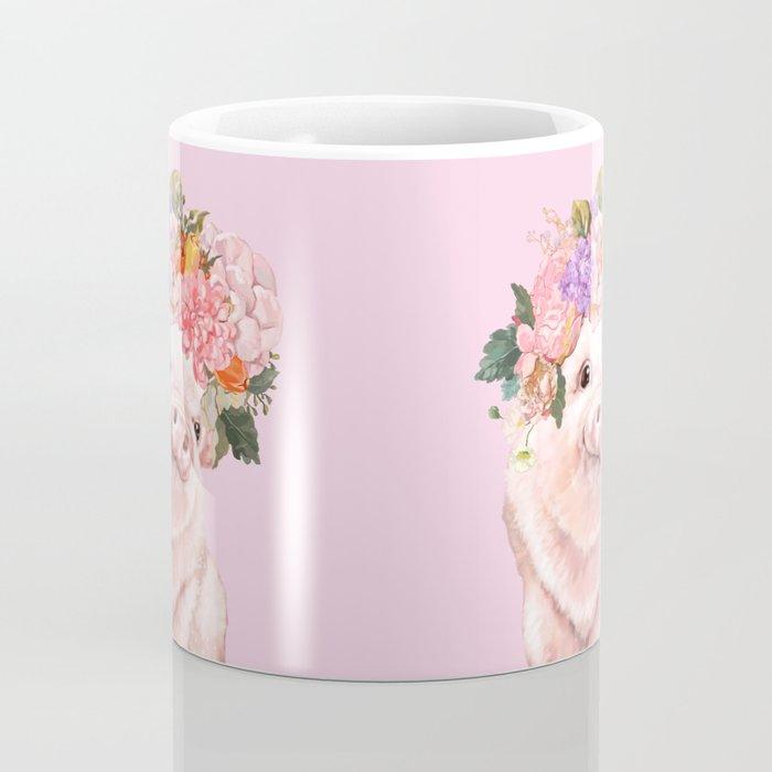 Baby Pig with Flowers Crown Coffee Mug