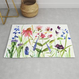 Botanical Colorful Flower Wildflower Watercolor Illustration Rug