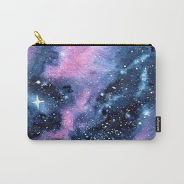 Twinkling Pink Watercolor Galaxy Carry-All Pouch