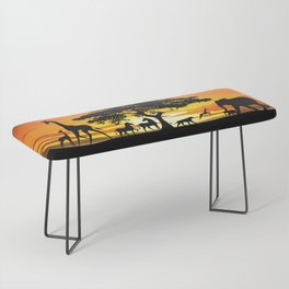Wild Animals on African Savanna Sunset Bench