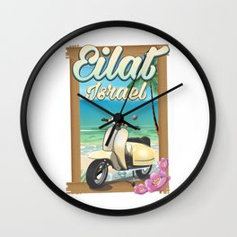 Eilat Beach Israel scooter travel poster Wall Clock