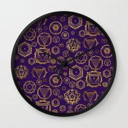 Gold on Purple Chakras Pattern Wall Clock