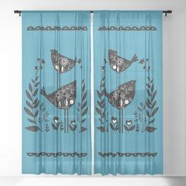 Danish Birds Bring Good Luck And A Good Life Sheer Curtain