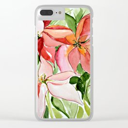Pink Poinsettias Clear iPhone Case