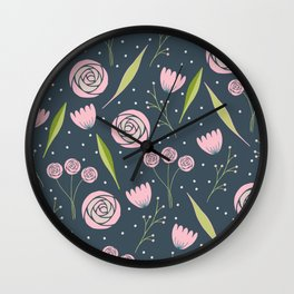 Roses, berries and leaves Wall Clock