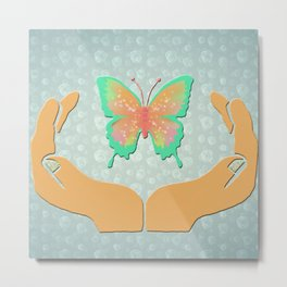 Butterfly in my hands Metal Print