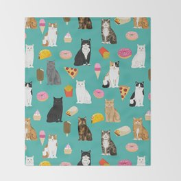 Cat breeds junk foods ice cream pizza tacos donuts purritos feline fans gifts Throw Blanket