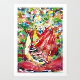 14th DALAI LAMA - TENZIN GYATSO - watercolor portrait Art Print