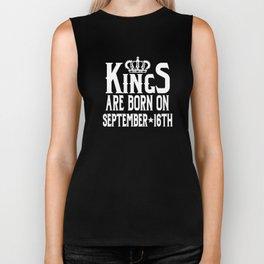Kings Are Born On September 16th Funny Birthday Biker Tank