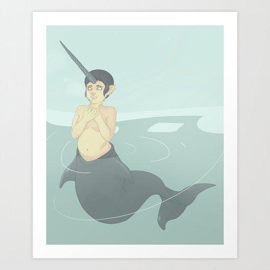 Narwhal Mermaid Art Print