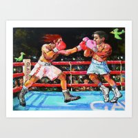 boxing Art Prints featuring boxing by Piubeniart