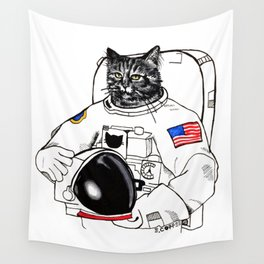 Astronomically Curious Cat Wall Tapestry