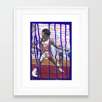 nba Framed Art Prints featuring NBA PLAYERS - Julius Erving by Ibbanez