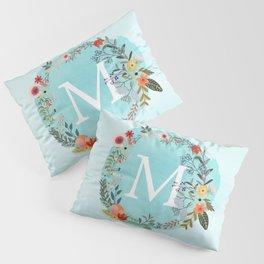 Personalized Monogram Initial Letter M Blue Watercolor Flower Wreath Artwork Pillow Sham