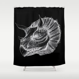 Triceratops negative drawing Shower Curtain