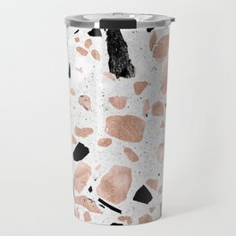 Classy rose gold vintage marble abstract terrazzo design Travel Mug