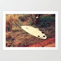 surfboard Art Prints featuring surfboard- Maui by Eoxe