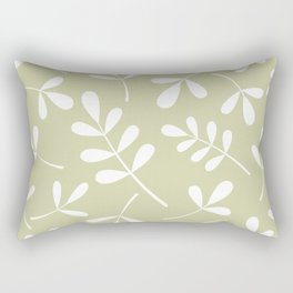 Assorted Leaf Silhouettes White on Lime Rectangular Pillow