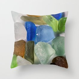Colorful New England Beach Glass Throw Pillow