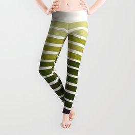 Olive Green Mid Century Modern Minimalist Scandinavian Colorful Stripes Geometric Pattern Round Circ Leggings