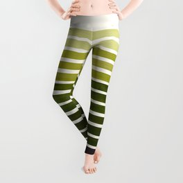 Olive Green Mid Century Modern Minimalist Scandinavian Colorful Stripes Geometric Pattern Round Circ Leggings