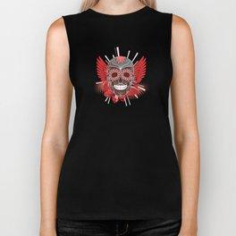 Red and Grey Smiling Skull Biker Tank