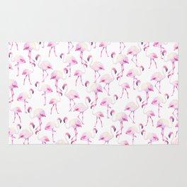 Tropical elegant watercolor pink flamingo bird Rug