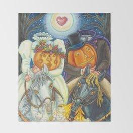 SLEEPY HOLLOW WEDDING - Brack Headless Horseman Halloween Art Throw Blanket