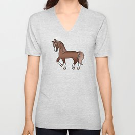Chestnut Brown Trotting Horse Cute Cartoon Illustration Unisex V-Neck