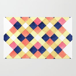 Colorful pink yellow navy blue watercolor geometrical pattern Rug