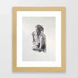 Woman Drinking Something Framed Art Print