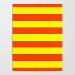 Bright Neon Orange and Yellow Horizontal Cabana Tent Stripes Poster