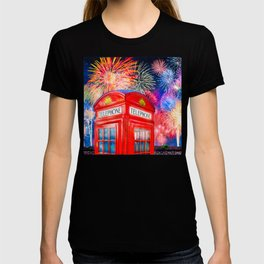 Fun Fireworks Over An Iconic Red British Phone Box T-shirt
