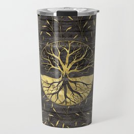 Golden Tree of life on wooden texture Travel Mug
