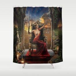 XI. Justice Tarot Card Illustration (Color) Shower Curtain