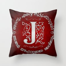 Joshua 24:15 - (Silver on Red) Monogram J Throw Pillow