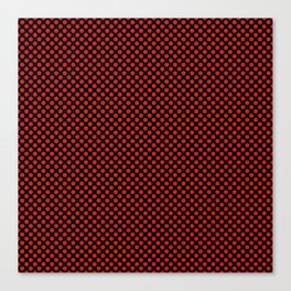 Black and Fiery Red Polka Dots Canvas Print