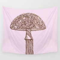 mushroom Wall Tapestries featuring Mushroom by Rahmah Jameela Design