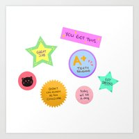 stickers Art Prints featuring Motivational Stickers by draws but not really