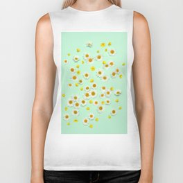 Composition of daisies and buttercups Biker Tank