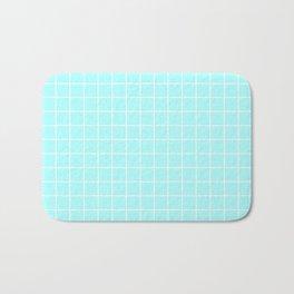 Celeste - heavenly color - White Lines Grid Pattern Bath Mat