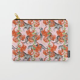 Tigers and Tiger Lilies (Pink Background) Carry-All Pouch