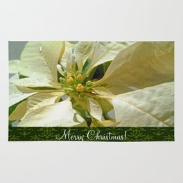 Pale Yellow Poinsettia 1 Merry Christmas S6F1 Rug