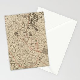 Vintage Map of Downtown Boston MA (1911) Stationery Cards