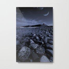 Dunstanburgh Castle with crescent moon Metal Print
