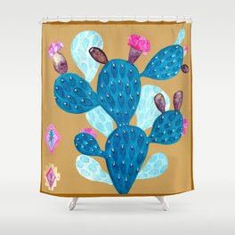 Watercolor Mexican cactus with folk flowers aztec tiles Shower Curtain