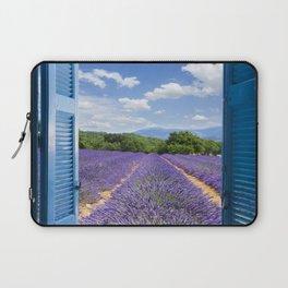 wooden shutters, lavender field Laptop Sleeve