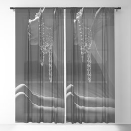 Woman in Bedroom- Black & White Sheer Curtain