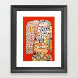 Girl with the flower in hair Framed Art Print