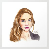law Art Prints featuring J-Law by Kaitlin Polak